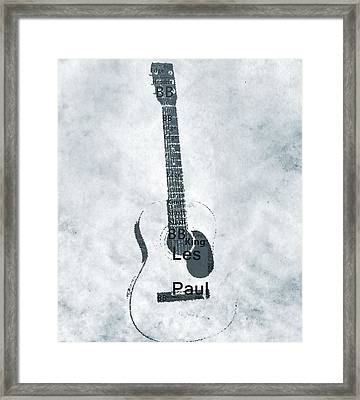 Famous Guitarists Typography Cool Framed Print by Dan Sproul