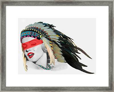 Famous Indian Girl With Red Face Stripe Framed Print