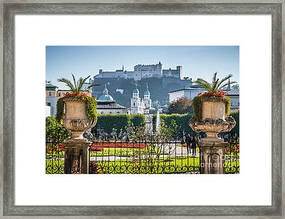 Famous Mirabell Gardens In Salzburg Framed Print by JR Photography