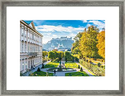 Famous Mirabell Gardens With Historic Fortress In Salzburg, Aust Framed Print by JR Photography