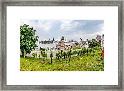 Famous Port Hamburger Landungsbruecken Framed Print by JR Photography