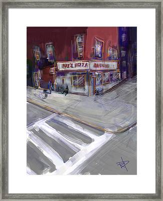 Famous Ray's Framed Print by Russell Pierce