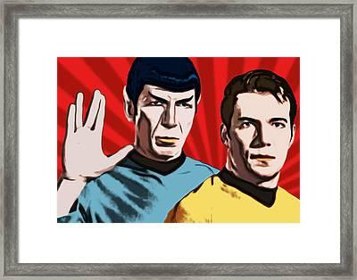 Famous Spock And Kirk Framed Print