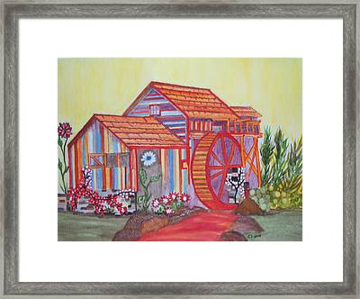 Framed Print featuring the painting Fanasty Waterwheel by Connie Valasco