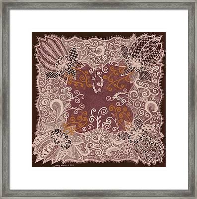 Fancy Antique Lace Hankie Framed Print by Jenny Elaine