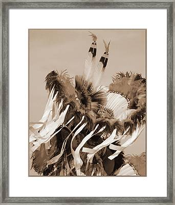 Framed Print featuring the photograph Fancy Dancer In Sepia by Heidi Hermes