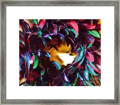 Fancy Feathers Framed Print by Leslie Revels Andrews