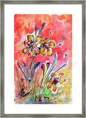 Framed Print featuring the painting Fancy Irises Flower Watercolor by Ginette Callaway
