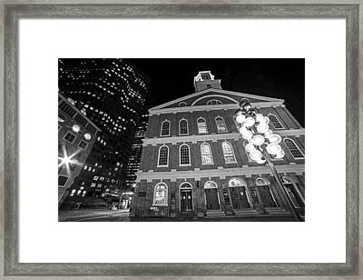 Faneuil Hall Marketplace Boston Ma Black And White Framed Print