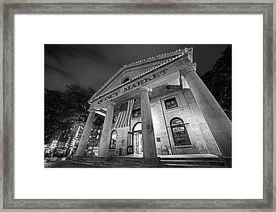 Faneuil Hall Quincy Market Boston Ma Black And White Framed Print