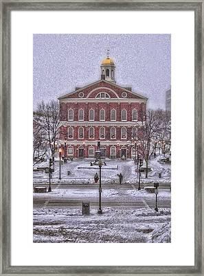 Faneuil Hall Snow Framed Print by Joann Vitali