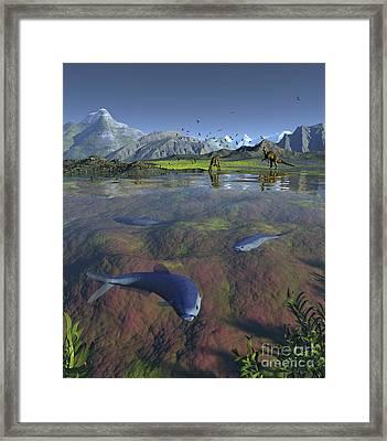 Fanged Enchodus Predatory Fish Framed Print