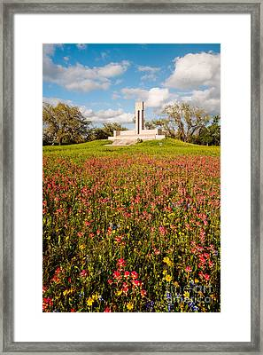 Fannin Monument And Memorial With Wildflowers In Goliad - Coastal Bend South Texas Framed Print