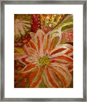 Fantasia With Orange And White Framed Print by Anne-Elizabeth Whiteway