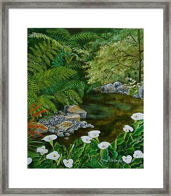 Fantastic Canna Lillies Framed Print by Val Stokes
