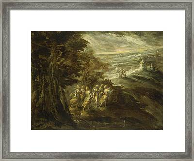 Fantastic Landscape With Figures Framed Print by Emilian 16th Century