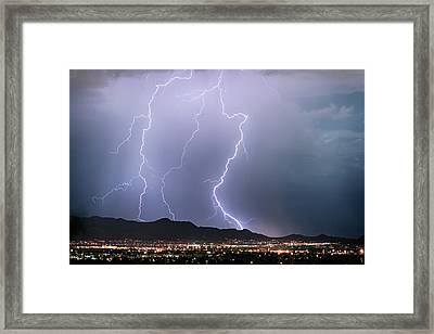 Fantastic Lightning Show Over City Lights Framed Print