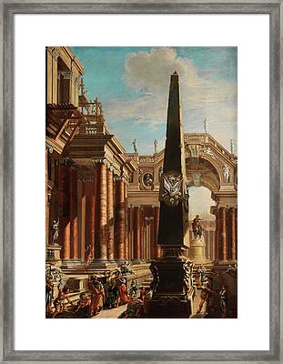 Fantastic Roman Architektur Capriccio With Scene From The Life Of Cleopatra Framed Print