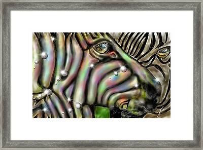 Framed Print featuring the digital art Fantastic Zebra by Darren Cannell