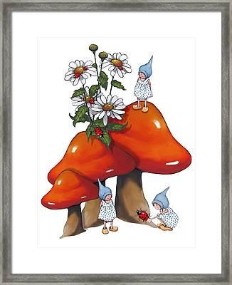 Fantasy Art Gnomes And Toadtools Framed Print