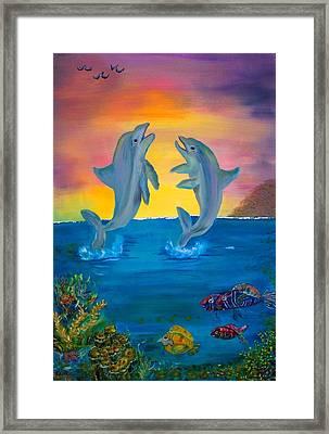 Fantasy Dolphins Framed Print by Mikki Alhart