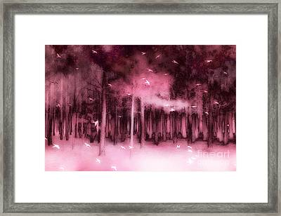Fantasy Fairytale Pink Mauve Woodlands Trees Nature - Fairytale Woodlands Forest Framed Print
