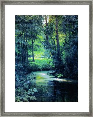 Fantasy Forest In Green And Blue Framed Print