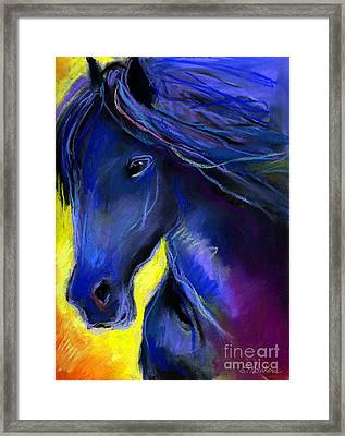 Fantasy Friesian Horse Painting Print Framed Print