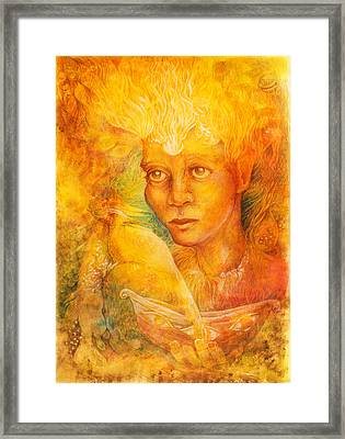 Fantasy Golden Light Fairy Spirit With Two Phoenix Birds  Framed Print by Miriama Taneckova