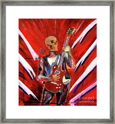Fantasy Heavy Metal Skull Guitarist Framed Print