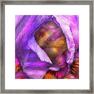 Fantasy Life Of An Iris Framed Print by Carol Cavalaris