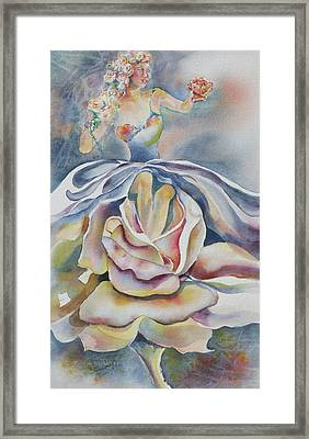 Framed Print featuring the painting Fantasy Rose by Mary Haley-Rocks