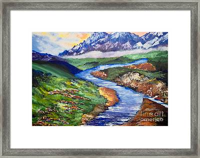 Framed Print featuring the painting Fantasy by Saundra Johnson