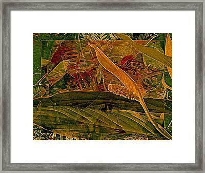 Fantasy With African Violets And Peace Lily Gold And Green Framed Print by Lynda Lehmann