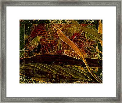 Fantasy With African Violets And Peace Lily Red And Gold Framed Print by Lynda Lehmann