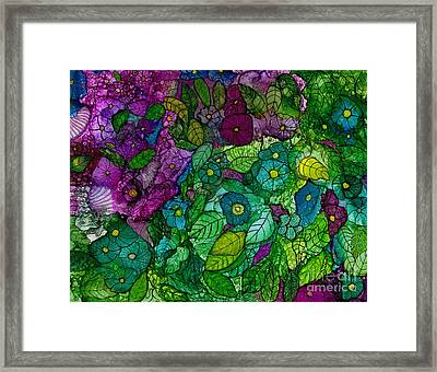 Fantasy Zen Flowers In Alcohol Ink Framed Print