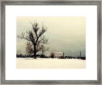 Framed Print featuring the photograph Far From Home - Winter Barn by Janine Riley