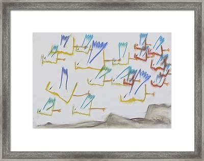Framed Print featuring the pastel Farfuglar Yfir Landi by Stefan Hermannsson