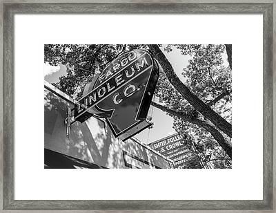 Fargo Linoleum Company Framed Print by John McGraw