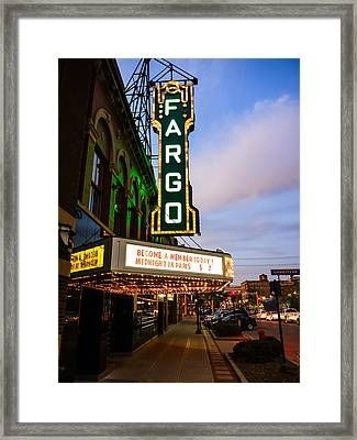 Fargo Theater And Downtown Along Broadway Drive Framed Print by Paul Velgos