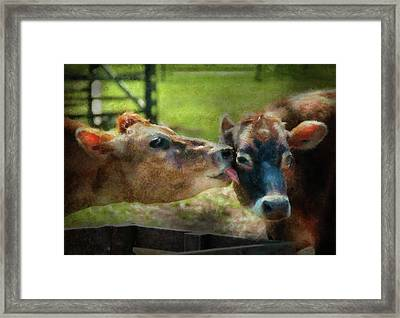 Farm - Cow - Let Mommy Clean That Framed Print by Mike Savad