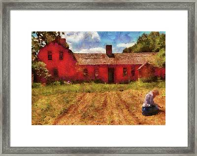 Farm - Farmer - Working In The Fields  Framed Print by Mike Savad
