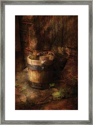 Farm - Pail - An Old Pail Framed Print by Mike Savad