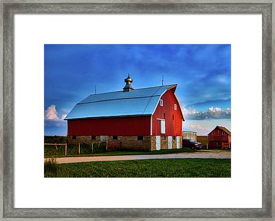 Farm At Sunset - Iowa Framed Print