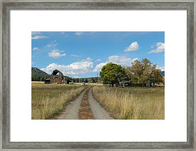 Farm At The End Of A Country Road Framed Print