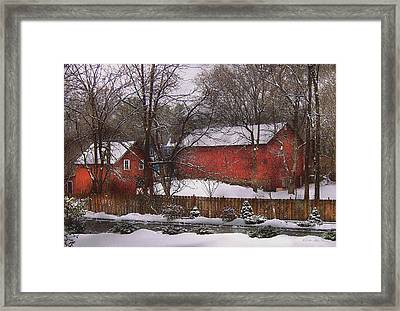 Farm - Barn - Winter In The Country  Framed Print by Mike Savad