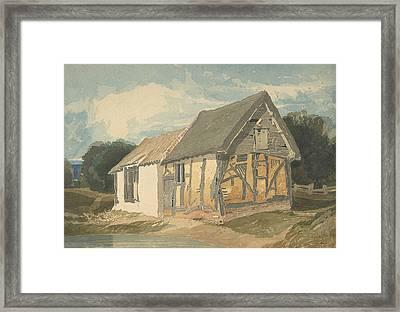 Farm Building By A Pond Framed Print