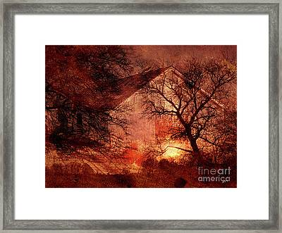 Farm Building In The Woods Framed Print
