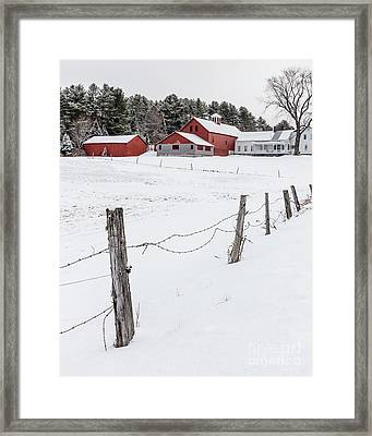 Farm Buildings In Winter Framed Print