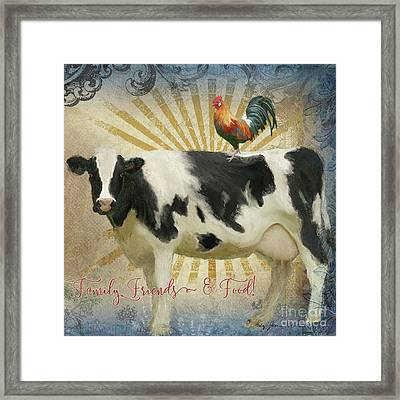 Framed Print featuring the painting Farm Fresh Barnyard Animals Cow Rooster Typography by Audrey Jeanne Roberts